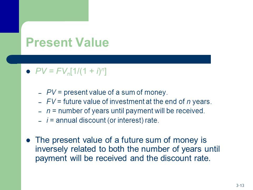 Present Value PV = FVn[1/(1 + i)n]